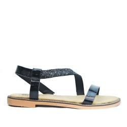 Sandale confort noire à bride pailletée