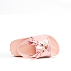 Pink girl sandal with rabbit pattern