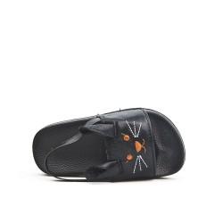 Black girl sandal with rabbit pattern