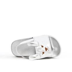 Sandalia chica gris con patrón de conejo