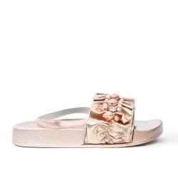 Sandale fille champagne ornée de perle
