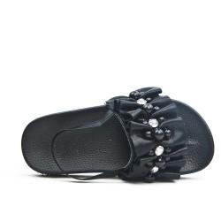 Sandale fille noire ornée de perle