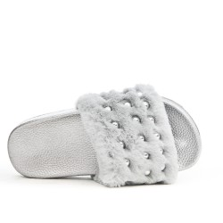 Gray girl fur slipper