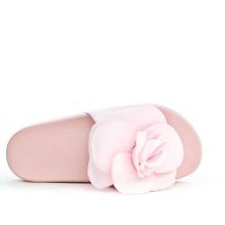 Claquette rose à fleur