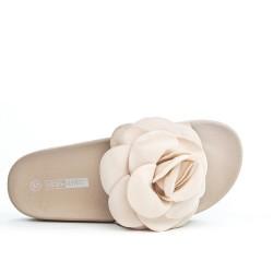 Claquette beige à fleur