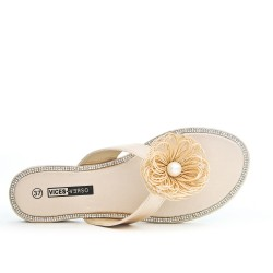 Tong beige with flower