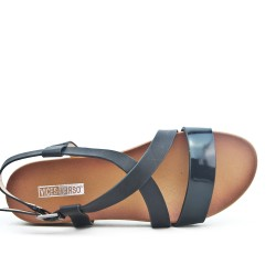 Bi-colored comfort sandal in faux leather