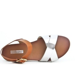 Comfort sandal bi-colored with crossed straps