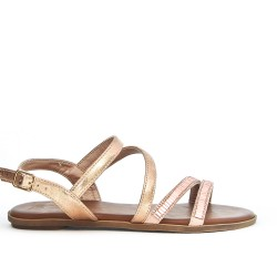 Champagne flat sandal with rhinestones