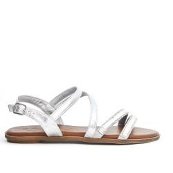 Silver flat sandal with rhinestones