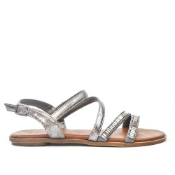 Gray flat sandal with rhinestones