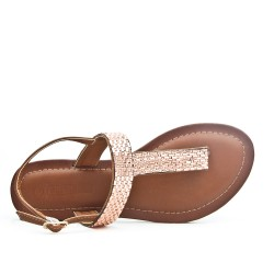Brown Tong sandal with rhinestones