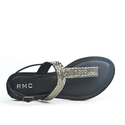 Black Tong sandal with rhinestones