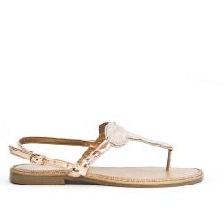 Champagne sandal with rhinestones