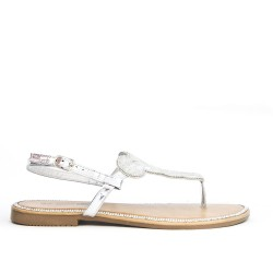 Tong silver sandal with rhinestones