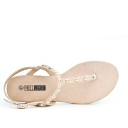 Pink Tong sandal with studs