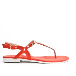 Red Tong sandal with studs