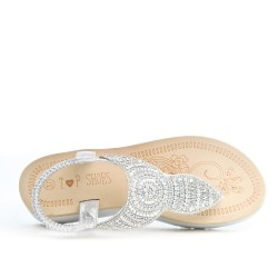 Sandale Tong confort argent ornée de strass