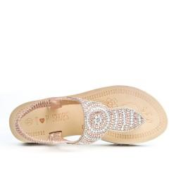 Sandale Tong confort dorée ornée de strass