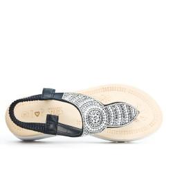 Sandale Tong confort noire ornée de strass