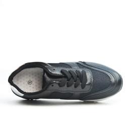 Basket bi-matière noire à lacet
