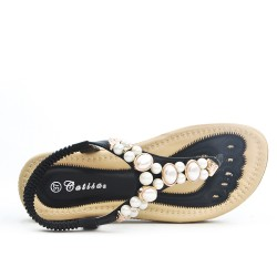 Sandale confort orné de perle disponible en 4 couleurs