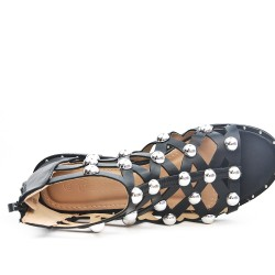 Sandal with pearl and zipper available in 3 colors
