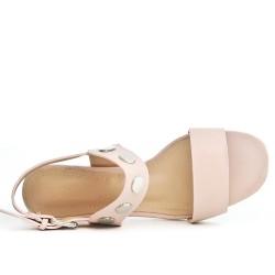 Sandale en simili cuir à talon disponible en 3 couleurs