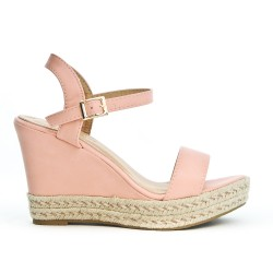 Wedge sandals in faux leather