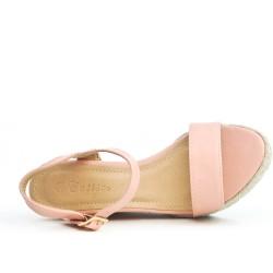 Sandale compensée rose en simili cuir