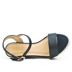 Sandale compensée noire en simili cuir