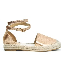 Golden espadrille in faux leather