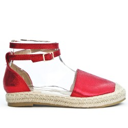 Red espadrille in faux leather