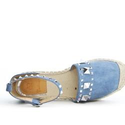 Espadrille bleu en simili daim