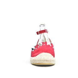 Red espadrille in faux suede