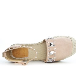 Pink espadrille in faux suede