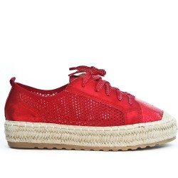 Red espadrille with lace