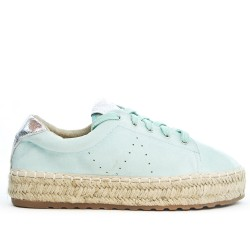 Green espadrille in faux suede with lace