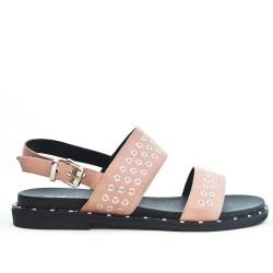 Pink faux suede sandal with rings