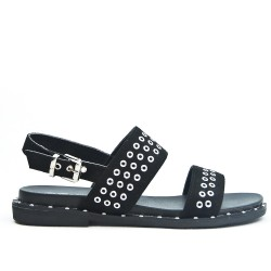 Black faux suede sandal with rings