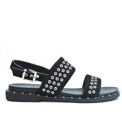 Sandale noire en simili daim avec anneaux