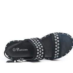 Sandalia confort negro con lazo