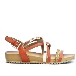 Sandale confort marron à multibrides