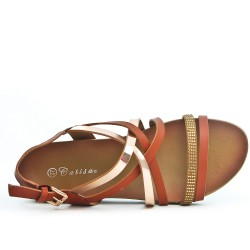 Brown comfort sandal with multiple bridles