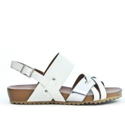 Sandale confort blanche en simili cuir
