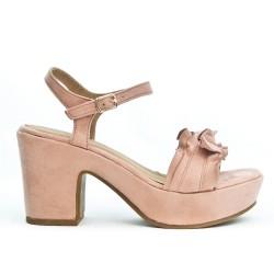 Flying pink sandal with big heel
