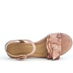Sandale rose à volant avec gros talon