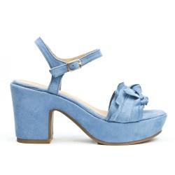 Sandale bleu à volant avec gros talon