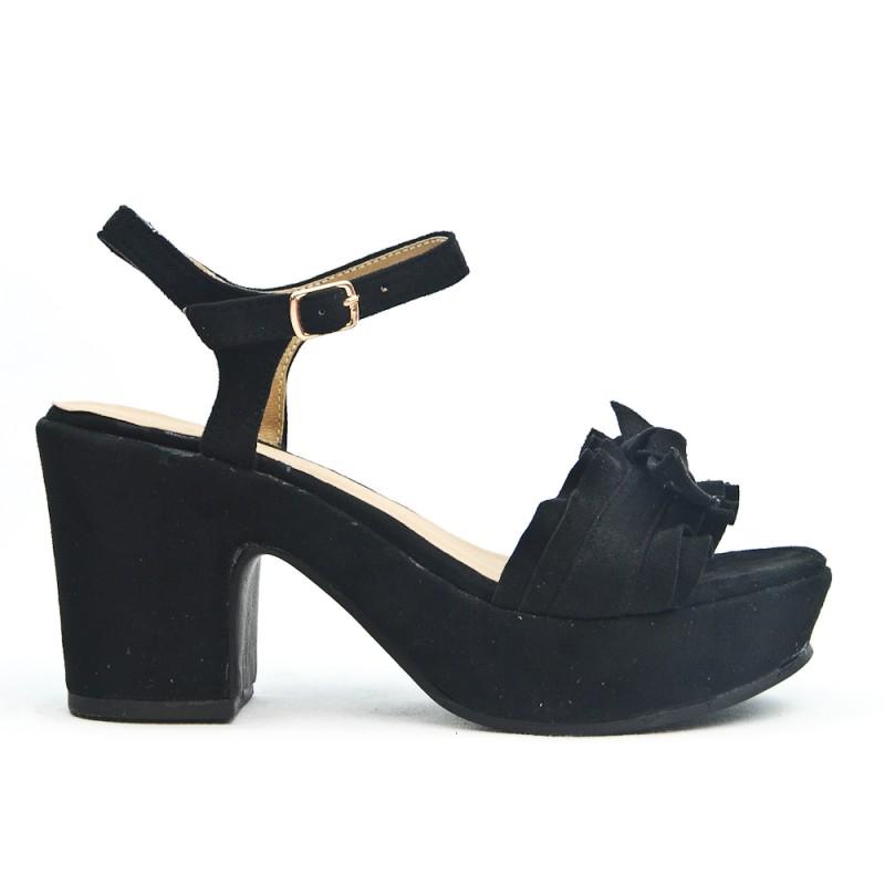 Sandalia Negra De Grande Con Volante Tacón N0nOwP8kX