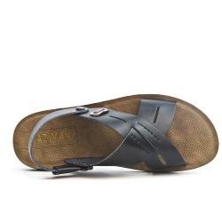 Black men sandal with crossed straps